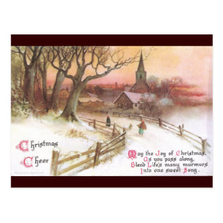 Small Town and Church at Sunset in Winter Postcard