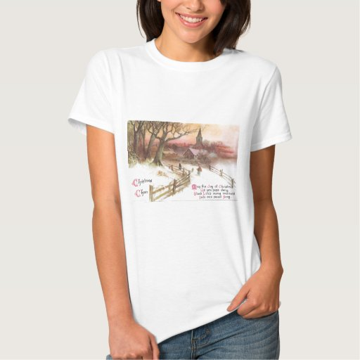 Small Town and Church at Sunset in Winter Tees