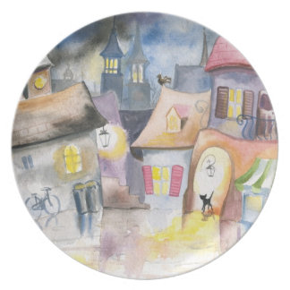 Small town at night dinner plate