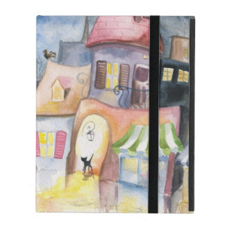 Small town at night iPad cases