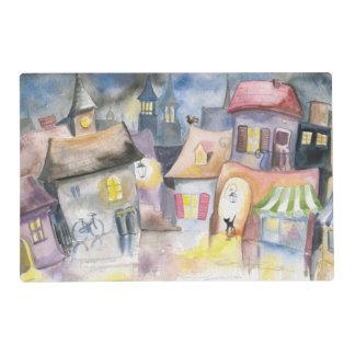 Small town at night placemat