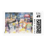 Small town at night postage stamps