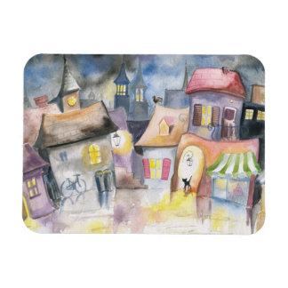Small town at night rectangular photo magnet
