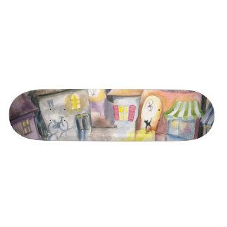 Small town at night custom skateboard