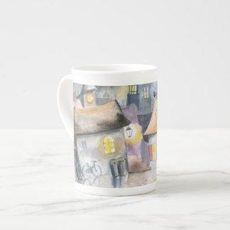 Small town at night porcelain mug