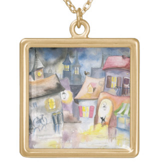 Small town at night square pendant necklace
