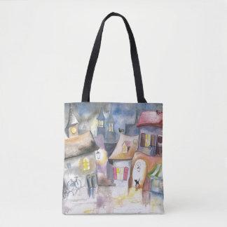 Small town at night tote bag