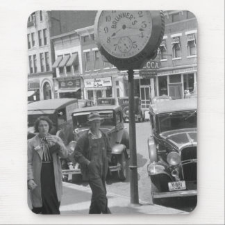 Small Town, Big Clock, 1930s Mouse Pad