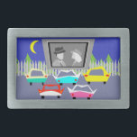 """Small Town Drive-In Movie Belt Buckle<br><div class=""""desc"""">Pass the popcorn! This Small Town Drive-In Movie Belt Buckle will transport you to a simpler time, when gas was cheap, rock and roll was young, and the movie stars of Hollywood&#39;s Golden Age shined brighter than the night sky. The design features the rear view of five, virtually indestructible, retro...</div>"""