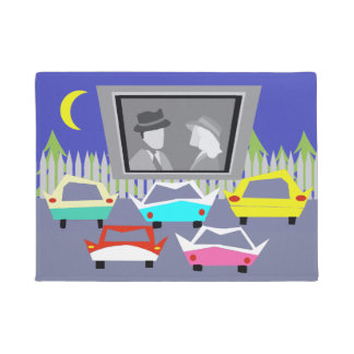 Small Town Drive-In Movie Door Mat