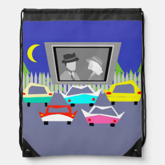 Small Town Drive-In Movie Drawstring Backpack
