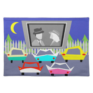 Small Town Drive-In Movie Placemat Cloth Place Mat