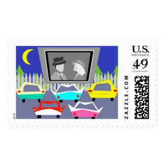 Small Town Drive-In Movie Postage Stamps
