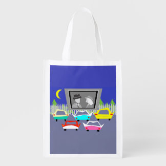Small Town Drive-In Movie Reusable Grocery Bag
