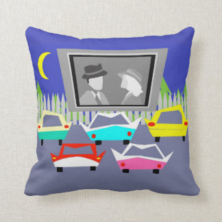 Small Town Drive-In Movie Throw Pillow