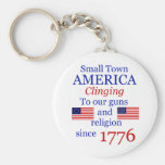 Small Town Proud Keytag Basic Round Button Keychain