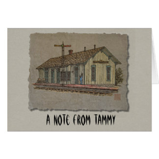 Small Town Train Station Stationery Note Card