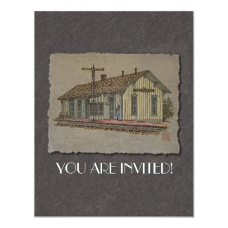 Small Town Train Station Card