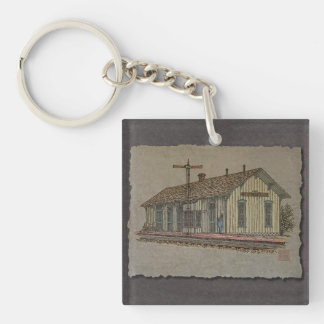 Small Town Train Station Single-Sided Square Acrylic Keychain