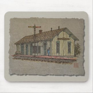 Small Town Train Station Mouse Pad