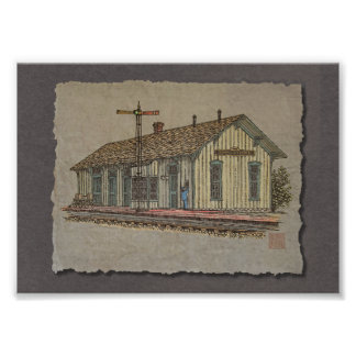 Small Town Train Station Photographic Print