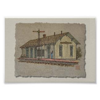 Small Town Train Station Art Photo
