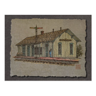 Small Town Train Station Post Card