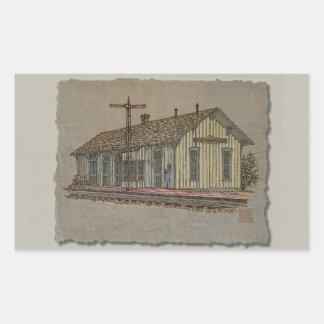 Small Town Train Station Rectangular Sticker