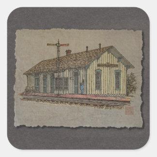 Small Town Train Station Square Sticker