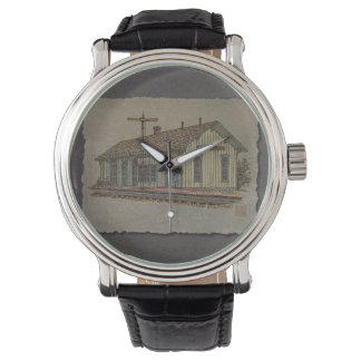 Small Town Train Station Wrist Watch