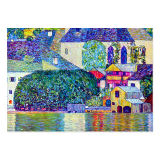 Small town village church on lake art by Klimt Large Business Card