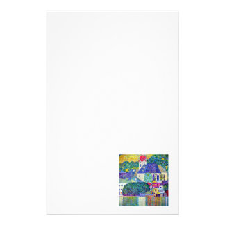 Small town village church on lake art by Klimt Stationery