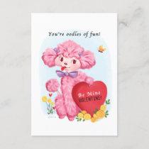 Small traditional Poodle Vintage Valentine Invitation