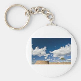 small tree, big sky and brick wall keychain