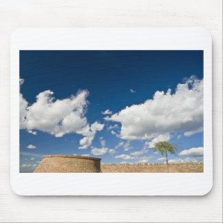 small tree, big sky and brick wall mouse pad