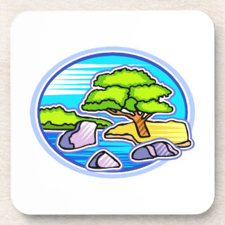 small tree by water bonsai like design png drink coaster
