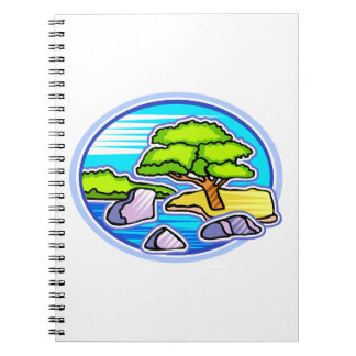 small tree by water bonsai like design.png spiral notebook