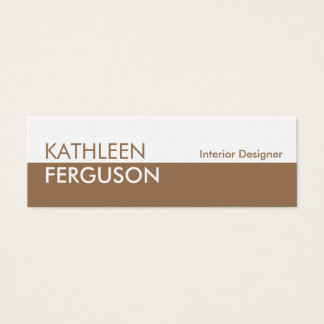 Small two tone color block brown professional mini business card