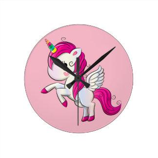 Small Unicorn Round Clock