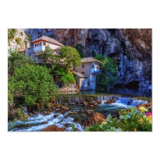 Small village Blagaj on Buna waterfall, Bosnia and Card