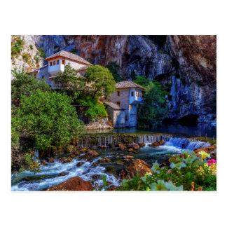 Small village Blagaj on Buna waterfall, Bosnia and Postcard