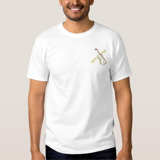 Small Violin Outline Embroidered T-Shirt