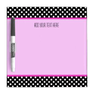 Small w/ Pen: Polkadot Pink Trim: Dry Erase Board