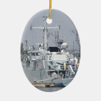 Small Warship Ceramic Ornament