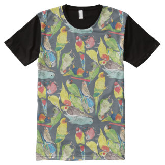Small Watercolor Parrots All-Over-Print Shirt