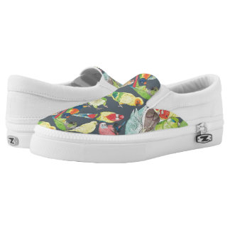 Small Watercolor Parrots Slip-On Sneakers