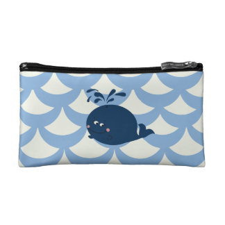 Small Whale In Scrimshaw Cartoon Nautical Style - Makeup Bag