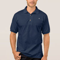 small white airplane on navy blue polo for a pilot