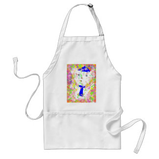 Small white bear toy is happy on  birthday party adult apron