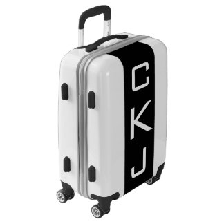 SMALL White + Black Monogrammed Carry On Luggage
